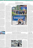 Süddeutsche Zeitung (German leading daily) on the Hungarian domestic propaganda war on refugees and migrants, July 2015. Photographer: Martin Fejer