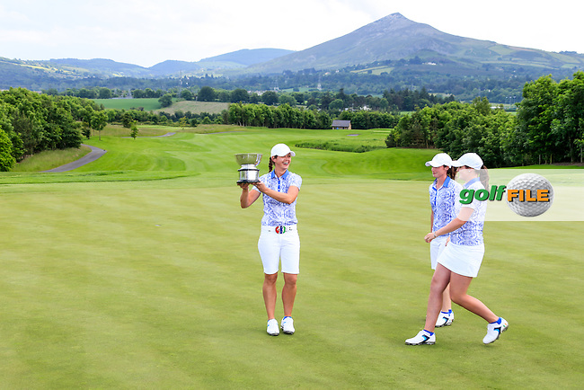 Maria Dunne with the Curtis Cup and Leona Maguire and Olivia Mehaffey after the Sunday Singles matches at the 2016 Curtis cup from Dun Laoghaire Golf Club, Ballyman Rd, Enniskerry, Co. Wicklow, Ireland. 12/06/2016.<br /> Picture Fran Caffrey / Golffile.ie<br /> <br /> All photo usage must carry mandatory copyright credit (&copy; Golffile | Fran Caffrey)