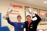 21-5-2015: REPRO FREE PHOTO: Tom and Leo O'Sullivan,  with the Hogan and Corn Ui Mhuiri cups  at the  opening of Garvey's Supervalu in Dingle, County Kerry on Thursday following a three million euro investment.  <br /> Photo: Don MacMonagle<br /> <br /> PR Photo from SuperValu... no repro fee<br /> <br /> Release:<br /> Following a substantial investment of &euro;3 million, Garvey's SuperValu in Dingle has unveiled its newly revamped 16,450 sq ft store.  The state- of-the-art store helps to sustain local employment of 73 staff, with the substantial investment demonstrating the stores long-standing commitment to the community and economy of Dingle Peninsula. Instore master butcher Mickey Boland, who has been offering expert advice to customers for 50 years, officially opened the new look store.  Hector &Oacute; hEochag&aacute;in was also on hand for the unveiling of the redeveloped SuperValu, along with Kerry GAA stars Kieran Donaghy, Captain, James O'Donoghue and Mike Geaney.<br /> Further info: joyce.hosford@musgrave.ie