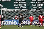 13 June 2009: DC's Jaime Moreno (99) scores the games first goal from the penalty spot past Chicago's Jon Busch (far right, behind). DC United defeated the Chicago Fire 2-1 at RFK Stadium in Washington, DC in a regular season Major League Soccer game.