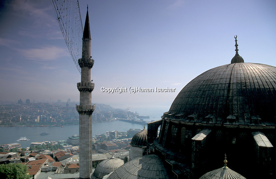 Turkey, Istanbul. Suleymaniye Imperial Mosque, a view from the minaret