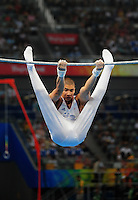 Aug. 9, 2008; Beijing, CHINA; Louis Smith (GBR) performs on the high bar during mens gymnastics qualification during the Olympics at the National Indoor Stadium. Mandatory Credit: Mark J. Rebilas-