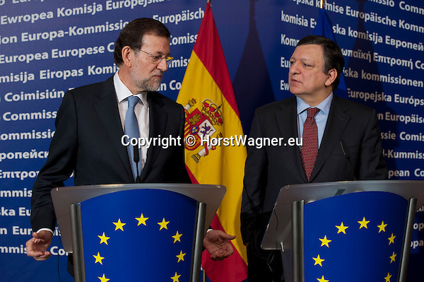 Brussels-Belgium - January 30, 2012 -- Mariano RAJOY BREY (le), Prime Minister of Spain, and José (Jose) Manuel BARROSO (ri), President of the European Commission, jointly brief the press on their first meeting  (after Spanish elections) prior to an extraordinary European Council the same day -- Photo: © HorstWagner.eu