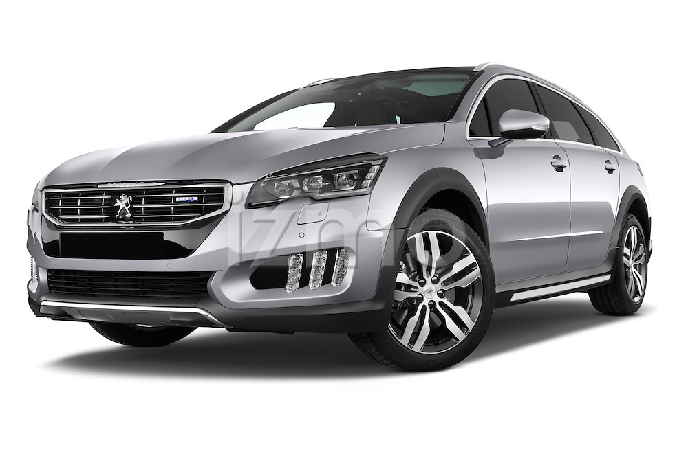 Stock pictures of low aggressive front three quarter view of a 2015 Peugeot 508 RXH 5 Door Wagon 2WD Low Aggressive