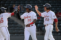 Designated hitter Drew Turocy (22) of the Greenville Drive, right, and Mario Martinez (10), center, are congratulated after scoring in a game against the Hickory Crawdads on Friday, June 7, 2013, at Fluor Field at the West End in Greenville, South Carolina. Greenville won the resumption of this May 22 suspended game, 17-8. (Tom Priddy/Four Seam Images)