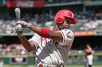 Philadelphia Phillies SS JImmy Rollins against the Houston Astros on Sunday April 11th, 2010 at Minute Maid Park in Houston, Texas.  (Photo by Andrew Woolley / Four Seam Images)