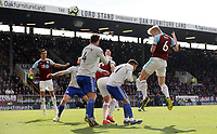 Burnley's Ben Mee with a headed effort on goal during the second half <br /> <br /> Photographer Rich Linley/CameraSport<br /> <br /> The Premier League - Saturday 13th April 2019 - Burnley v Cardiff City - Turf Moor - Burnley<br /> <br /> World Copyright © 2019 CameraSport. All rights reserved. 43 Linden Ave. Countesthorpe. Leicester. England. LE8 5PG - Tel: +44 (0) 116 277 4147 - admin@camerasport.com - www.camerasport.com
