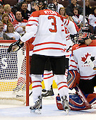 Tyler Myers (Canada - 3), Dustin Tokarski (Canada - 30) - Team Canada defeated the Czech Republic 8-1 on the evening of Friday, December 26, 2008, at Scotiabank Place in Kanata (Ottawa), Ontario during the 2009 World Juniors U20 Championship.