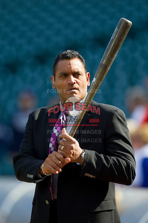 Former Major Leaguer and current TV analyst Orestes Destrade swings a bat prior to the Major League Baseball game between the Tampa Bay Rays and the Detroit Tigers at Comerica Park on June 4, 2013 in Detroit, Michigan.  The Tigers defeated the Rays 10-1.  Brian Westerholt/Four Seam Images