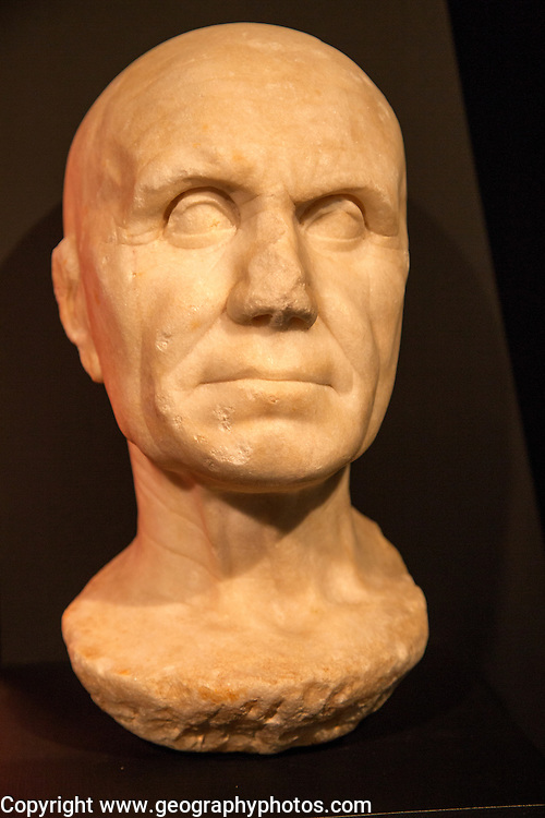 Roman elderly male face bust archaeology museum, Jerez de la Frontera, Cadiz Province, Spain