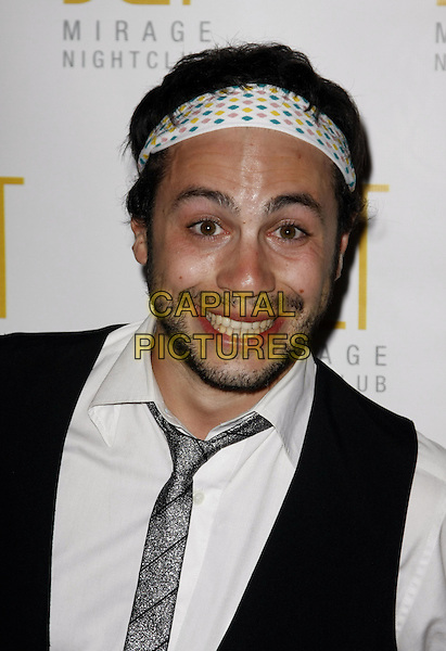 "DOMENICO NESCI.""That's Amore'"" Premiere Party held at Jet night club in the Mirage Hotel and Casino, Las Vegas, Nevada, USA, .14 March, 2008 .portrait headshot hairband head band tie white shirt .CAP/ADM/MJT.©MJT/Admedia/Capital Pictures"
