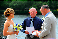 Wedding at the Boston University DeWolf Boathouse on the Charles River in Boston.