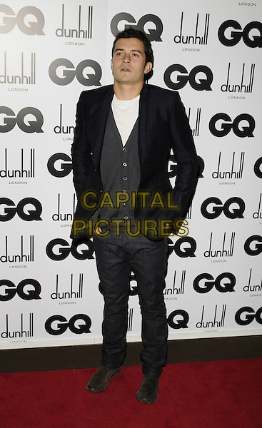 ORLANDO BLOOM.Inside arrivals at the GQ Men of the Year Awards at the Royal Opera House, Covent Garden, London, England..September 2nd 2008. .full length black jacket grey gray cardigan trousers.CAP/CAN.©Can Nguyen/Capital Pictures.