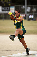 Hutt Valley's Ngahuia Kapene during round two of the National Women's Softball Championships at Hataitai Park, Wellington, NewZealand on Sunday 2 February 2009. Photo: Dave Lintott / lintottphoto.co.nz