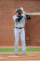 Connor Owings (6) of the Coastal Carolina Chanticleers at bat against the High Point Panthers at Willard Stadium on March 14, 2014 in High Point, North Carolina.  The Panthers defeated the Chanticleers 3-0.  (Brian Westerholt/Four Seam Images)