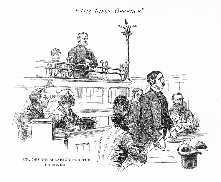 Defending a young offender in court.     Date: 1891     Source: The Quiver W Rainey page 57.