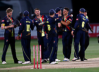 Kent players celebrate victory at the end of the Vitality Blast T20 game between Kent Spitfires and Essex Eagles at the St Lawrence Ground, Canterbury, on Thu Aug 2, 2018