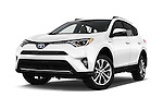 Stock pictures of low aggressive front three quarter view of 2016 Toyota RAV4 Hybrid-Limited-4x4 5 Door SUV Low Aggressive
