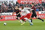 30.11.2019, RheinEnergieStadion, Koeln, GER, 1. FBL, 1.FC Koeln vs. FC Augsburg,<br />  <br /> DFL regulations prohibit any use of photographs as image sequences and/or quasi-video<br /> <br /> im Bild / picture shows: <br /> Torchance fuer Anthony (Toni) Modeste (FC Koeln #27), Simon Terodde (FC Koeln #9), <br /> <br /> Foto © nordphoto / Meuter