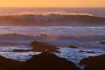 Waves breaking at sunset, San Mateo County coast, California
