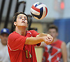 Richie Polizzi #13 of Sachem East makes a set during the round-robin portion of a Suffolk County varsity boys volleyball tournament match against Lindenhurst at Northport High School on Saturday, Sept. 10, 2016.