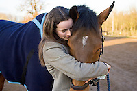 Young woman hugs Cleveland Bay cross Thoroughbred horse, Oxfordshire, United Kingdom.