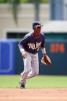 GCL Twins shortstop Gorge Munoz (2) during a game against the GCL Orioles on August 11, 2016 at the Ed Smith Stadium in Sarasota, Florida.  GCL Twins defeated GCL Orioles 4-3.  (Mike Janes/Four Seam Images)