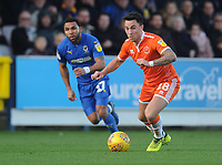 Blackpool's John O'Sullivan under pressure from AFC Wimbledon's Andy Barcham<br /> <br /> Photographer Kevin Barnes/CameraSport<br /> <br /> The EFL Sky Bet League One - AFC Wimbledon v Blackpool - Saturday 29th December 2018 - Kingsmeadow Stadium - London<br /> <br /> World Copyright &copy; 2018 CameraSport. All rights reserved. 43 Linden Ave. Countesthorpe. Leicester. England. LE8 5PG - Tel: +44 (0) 116 277 4147 - admin@camerasport.com - www.camerasport.com