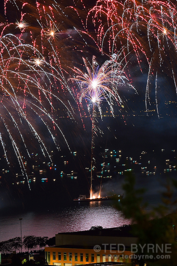 Fireworks Display over Lake Neuchâtel. Swiss National Day – August 1, 2014.