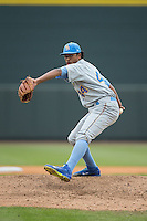 Myrtle Beach Pelicans relief pitcher Starling Peralta (44) in action against the Winston-Salem Dash at BB&T Ballpark on April 18, 2015 in Winston-Salem, North Carolina.  The Pelicans defeated the Dash 4-1 in game one of a double-header.  (Brian Westerholt/Four Seam Images)