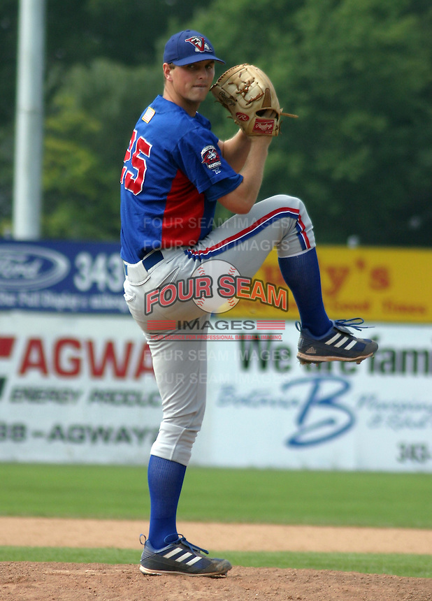 August 16, 2003:  Pitcher Jeremy Plexico of the Vermont Expos, Short Season Class-A affiliate of the Montreal Expos, during a NY-Penn League game at Dwyer Stadium in Batavia, NY.  Photo by:  Mike Janes/Four Seam Images
