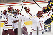 Johnny Gaudreau (BC - 13), Steven Whitney (BC - 21), Pat Mullane (BC - 11) - The Boston College Eagles defeated the visiting Merrimack College Warriors 4-3 on Friday, November 16, 2012, at Kelley Rink in Conte Forum in Chestnut Hill, Massachusetts.