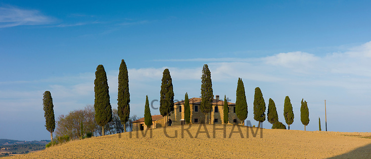 Typical Tuscan homestead, Il Cipressi, and landscape near Pienza in Val D'Orcia, Tuscany, Italy RESERVED USE - NOT FOR DOWNLOAD - FOR USE CONTACT TIM GRAHAM
