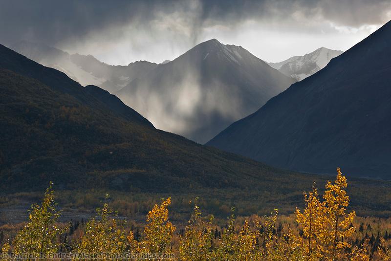 Virga falls over the Alaska Range mountains, Interior, Alaska.