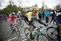 Robert Wagner (DEU/LottoNL-Jumbo) on top of the Kruisberg followed by Nacer Bouhanni (FRA/Cofidis)<br /> <br /> 67th Kuurne-Brussels-Kuurne 2015