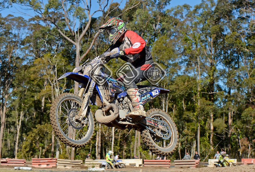 Hamish McGrath  / Yamaha<br /> MX Nationals / Round 6 / MXD<br /> Australian Motocross Championships<br /> Raymond Terrace NSW<br /> Sunday 5 July 2015<br /> &copy; Sport the library / Jeff Crow