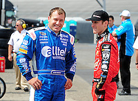 Sept. 20, 2008; Dover, DE, USA; Nascar Sprint Cup Series driver Ryan Newman (left) talks with Kasey Kahne during practice for the Camping World RV 400 at Dover International Speedway. Mandatory Credit: Mark J. Rebilas-