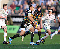 Northampton, England. Luther Burrell of Northampton Saints in action during the Northampton Saints and Leicester Tigers  during the Aviva Premiership match at Franklin's Gardens, Northampton, England on March 29, 2014