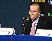 Greg Cronin (Northeastern - Head Coach) - The Boston College Eagles defeated the Northeastern University Huskies 5-4 in their Hockey East Semi-Final on Friday, March 18, 2011, at TD Garden in Boston, Massachusetts.