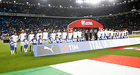 Italy and Spain teams line up prior to the start of their Fifa World Cup 2018 qualification soccer match at Turin's Juventus Stadium, October 6, 2016. The game ended 1-1.<br /> UPDATE IMAGES PRESS/Isabella Bonotto