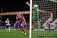Jon Nolan of Grimsby Town scores their fourth goal during the Vanarama National League match between Aldershot Town and Grimsby Town at the EBB Stadium, Aldershot, England on 5 April 2016. Photo by Paul Paxford / PRiME Media Images.