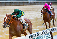 NEW YORK, NY - MAY 13: #2 Timeline ridden by Javier Castellano for Chad Brown, wins the Peter Pan Stakes at 2-5 in the slop , at Belmont Park on May 13, 2017 in Elmont, New York. (Photo by Dan Heary/Eclipse Sportswire/Getty Images)