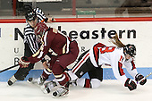 Kaliya Johnson (BC - 6), Paige Savage (NU - 28) - The Northeastern University Huskies defeated Boston College Eagles 4-3 to repeat as Beanpot champions on Tuesday, February 12, 2013, at Matthews Arena in Boston, Massachusetts.