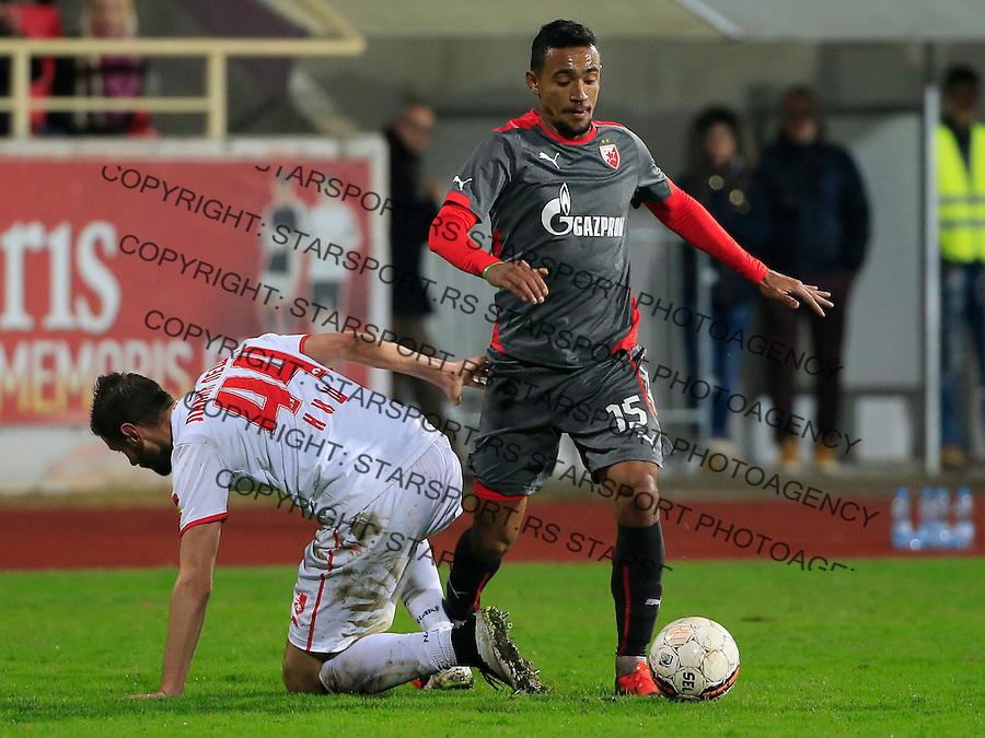 Fudbal Jelen Super League season 2015-2016<br /> Radnicki Nis v Crvena Zvezda<br /> Bruno Oliveira de Matos (R) and Nemanja Lakic-Pesic<br /> Nis, 22.11.2015.<br /> foto: Srdjan Stevanovic/Starsportphoto&copy;
