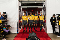 HARRISON, NJ - FEBRUARY 26: Referees John Pitti, Christian Ramirez, Ronald, Ameth during a game between AD San Carlos and NYCFC at Red Bull on February 26, 2020 in Harrison, New Jersey.