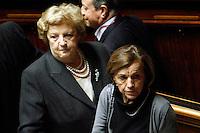 ANNA MARIA CANCELLIERI ED ELSA FORNERO.Roma 22/12/2011 Senato. Voto di Fiducia sulla Manovra Economica.Votation at Senate about austerity plan. .Photo Samantha Zucchi Insidefoto
