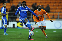 Gillingham's Brandon Hanlan under pressure from Blackpool's Marc Bola<br /> <br /> Photographer Kevin Barnes/CameraSport<br /> <br /> The EFL Sky Bet League One - Blackpool v Gillingham - Tuesday 11th February 2020 - Bloomfield Road - Blackpool<br /> <br /> World Copyright © 2020 CameraSport. All rights reserved. 43 Linden Ave. Countesthorpe. Leicester. England. LE8 5PG - Tel: +44 (0) 116 277 4147 - admin@camerasport.com - www.camerasport.com