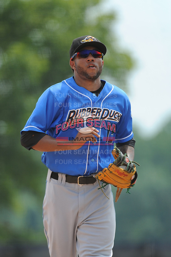 Akron RubberDucks infielder Ronny Rodriguez (15) during game against the Trenton Thunder at ARM & HAMMER Park on July 14, 2014 in Trenton, NJ.  Akron defeated Trenton 5-2.  (Tomasso DeRosa/Four Seam Images)