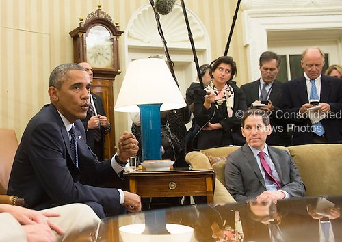 United States President Barack Obama addresses the media following a meeting with his team coordinating the government's Ebola response, in the Oval Office at the White House in Washington, D.C. on October 16, 2014. Obama met with Sylvia Burwell , Secretary of Health and Human Services, Denis McDonough, White House Chief of Staff,  Susan Rice, National Security Advisor, Lisa Monaco, Assistant to the President for Homeland Security and Counterterrorism and Dr. Thomas Frieden, Director of the Centers for Disease Control and Prevention.<br /> Credit: Kevin Dietsch / Pool via CNP