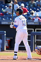 Peoria Javelinas infielder Juan Lagares #13 during an Arizona Fall League game against the Salt River Rafters at Peoria Sports Complex on November 2, 2011 in Peoria, Arizona.  Peoria defeated Salt River 4-2.  (Mike Janes/Four Seam Images)